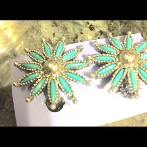 Turquoise and sterling clip on earrings